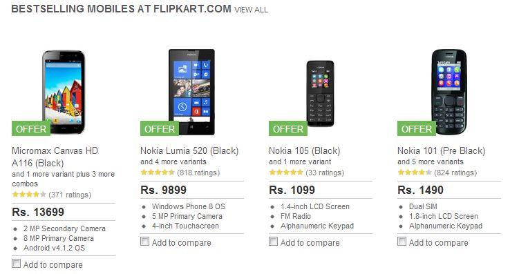 Nokialla on kolme halpapuhelinta Intian myydyimpien listalla verkkokauppa Flipkartissa.